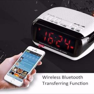 Jam Weker Alarm Digital Portable Speaker Bluetooth Radio Micro Sd Tokopedia
