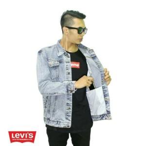 Jual SPORT CASUAL KERJA MURAH - jaket levis Keren biru pudar Bahan jeans ba254edf04
