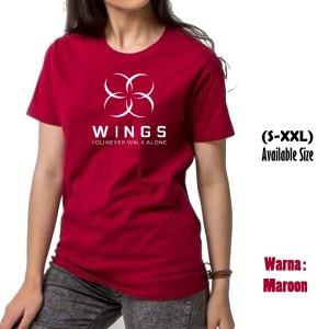 KAOS DISTRO TSHIRT PRIA WANITA wings you never walk alone maroon