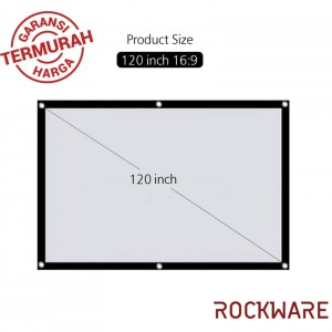 ROCKWARE 120 Inch Polyester Fabric Portable Foldable Projector Screen