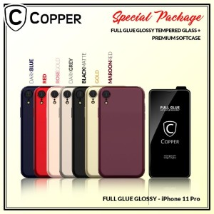 Iphone 11 Pro - Paket Bundling Tempered Glass Glossy Dan Softcase