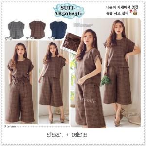 Setelan Baju Celana Kulot Midi Crop Pants Kotak Wanita Import AB50623