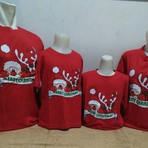 Kaos Natal Couple Family Santa Intip Baju Merry Christmas Keluarga