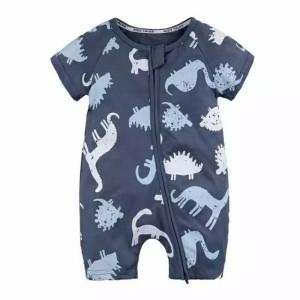 baju bayi romper warna biru donker dinosaurus lucu