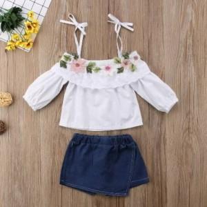 baju bayi perempuan setelan atasan putih flower clana rok biru cantik