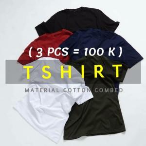 PROMO Baju kaos polos (100 RIBU DAPAT 3PCS) cotton combed 30s S-XL