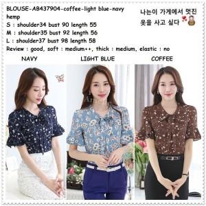 AB437904 Baju Atasan Kerja Pita Wanita Blouse Bunga Korea Import Biru