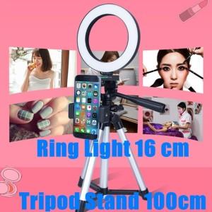 Ring Light 16cm+ Tripod Stand 1m / Siaran langsung / Selfie