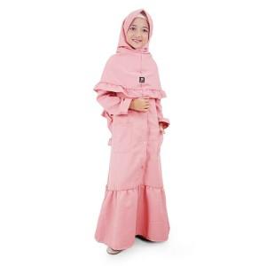 Bajuyuli - Gamis Anak Perempuan Syar'i Panjang Moscrepe - Pink MSDP01
