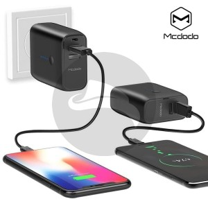 MCDODO 2IN1 POWER BANK TRAVEL WALL CHARGER 5000MAH USB DUAL PORT
