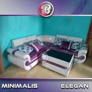 Sofa L Sudut Glamor Bernuansa Minimalis & Elegan   Violet White
