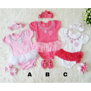 Jumper Baby Princess Setelan Set Tutu Bandana Baju Bayi Perempuan Lucu