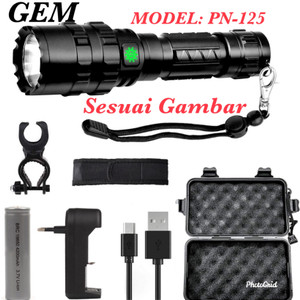 SENTER LED PN125 Tactical CREE XPH50 20000 Lumens with Baterai 26650