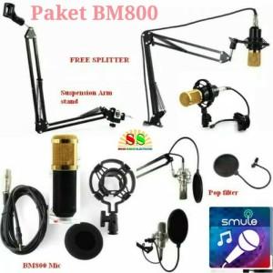 Paket Microphone Condenser BM 800+Stand Suspension+Pop Filter
