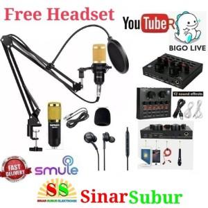 Paket Komplit Mic BM800 Soundcard V8 Stand Microphone Pop Filter