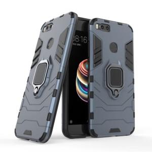 Xiaomi Mi A1 / 5X Black Panther Slim Rugged Standing Ring Armor Case