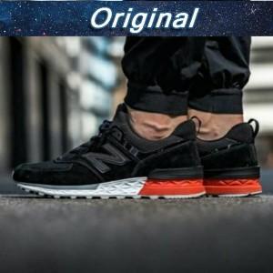 Jual Sepatu Sneakers Desain New Balance 574 Warna Hitam Merah Kualitas Tin 08a098ef30
