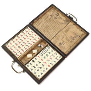 🔥Promo Portable Retro Mahjong Box Rare Chinese 144 Mah-Jong Set