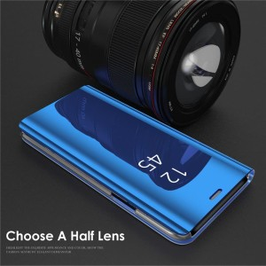 Case clear view samsung A70 miror casing flip cover