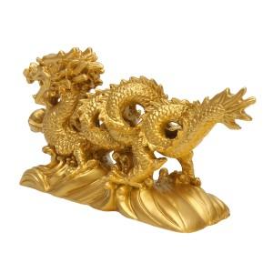 💥 Jual Resin Emas Naga Figurine Patung Ornamen Cina💥