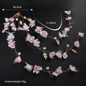 hairpiece bunga pink aksesoris rambut pengantin hiasan pesta