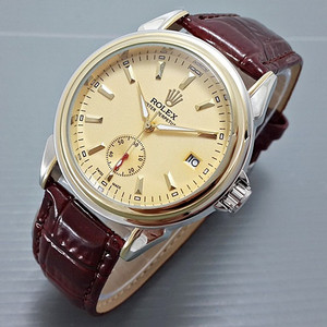JAM TANGAN PRIA ROLEX OYSTER AUTOMATIC BROWN SILVER GOLD PLAT GOLD