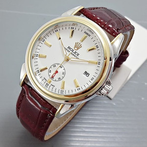 JAM TANGAN PRIA ROLEX OYSTER AUTOMATIC BROWN SILVER GOLD