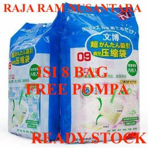 vakum bag vacum bag jumbo isi 8 free pompa vacuum bag plastik vacum
