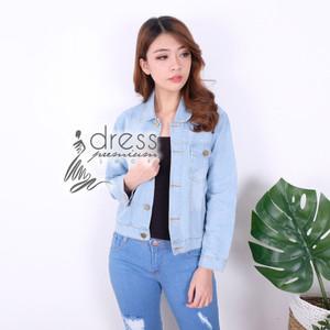 Jaket Jeans Polos Wanita Santai Casual Denim Outwear Biru Blue Light
