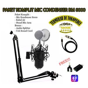 PAKET KOMPLIT MIC CONDENSER BM8000 - SILVER BLACK