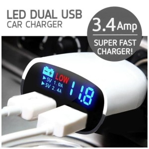 Fast Charger LED Dual Port USB 3.4A Charging HP Smartphone Di Mobil
