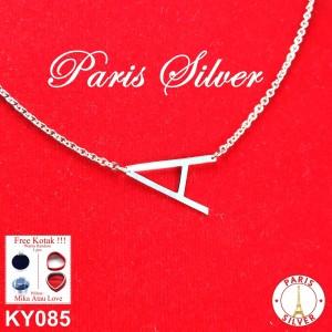 Kalung Caren delano Alphabet Huruf Inisial Perak 925 lapis emas putih
