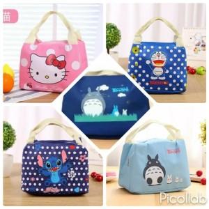 Lunch Cooler Bag Box Tas Bekal Karakter Hello Kitty Doraemon Stitch
