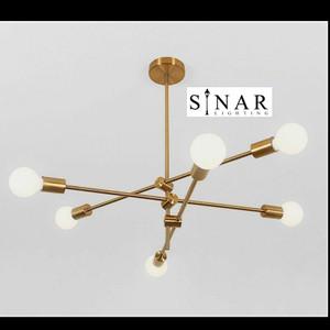 Lampu hias gantung molekul atom gold 6 holder
