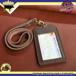 GANTUNGAN ID CARD NAME TAG DARI KULIT ASLI JAHIT TANGAN LEATHER GOODS