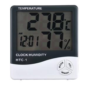 HTC-2 Thermometer Hygrometer Clock Temperature Humidity Meter Suhu HTC