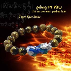 Gelang PiXiu Ukiran Om Mani Padme Hum Tiger Eyes Stone (GCS06)