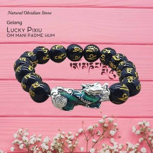 Gelang Lucky Pi Xiu (Berubah Warna) Natural Obsidian Stone (GCS34)