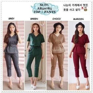 Setelan Baju Atasan Blouse Celana Kulot Wanita Korea Import AB50785