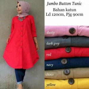 Button jumbo tunik pakaian atasan wanita muslim blous Zahra Stores