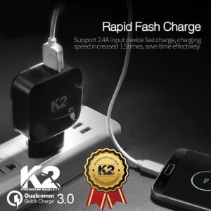 CHARGER K2 PREMIUM QUALITY QUALCOMM 3.0Ampere ADAPTIVE FAST CHARGING