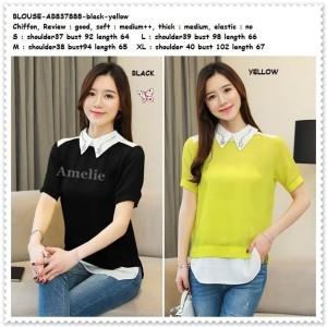AB837888 Baju Atasan Kemeja Lengan Pendek Wanita Blouse Korea Import