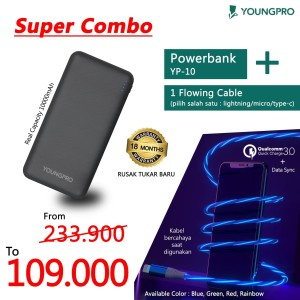 YOUNGPRO SUPER COMBO POWER BANK YP-10 10000MAH + CABLE DATA FLOWING