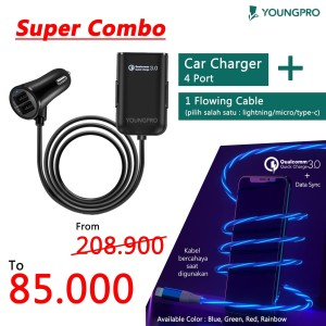 YOUNGPRO SUPER COMBO 4 PORTS CAR CHARGER 2.4A + KABEL DATA LED FLOWING