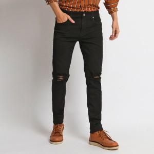 MENTLI Celana Jeans Skinny Pria - Black Ripped