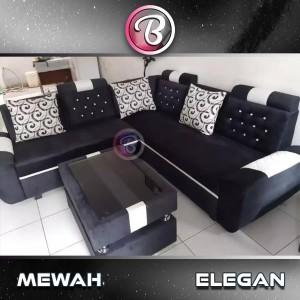 sofa L sudut minimalis Black sweat Free Ongkir