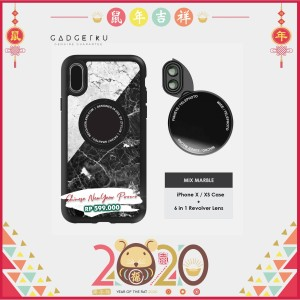 ZTYLUS IPHONE XS X REVOLVER M SERIES LENS KIT MARBLE / CASING IPHONE