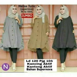 Melisa Tunik jumbo pakaian atasan wanita muslimah blouse Zahra Stores