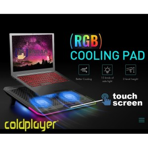 COOLING PAD GAMING RGB COLDPLAYER GX80 TOUCH SCREEN FOR 17 INCH LAPTOP
