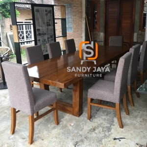 Meja makan jati solid minimalis 300x110x76 cm - kursi makan jati solid